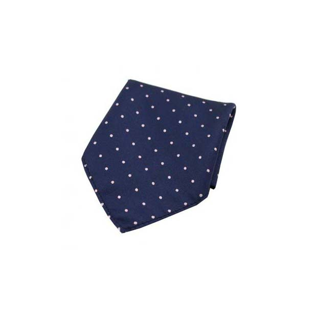 Pink and Navy Pin Dot Woven Silk Pocket Square