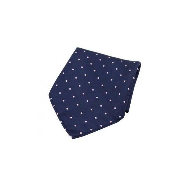 Pink and Navy Pin Dot Woven Silk Pocket Square