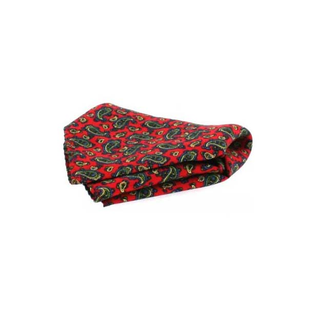 Small Red Paisley Men's Silk Pocket Square