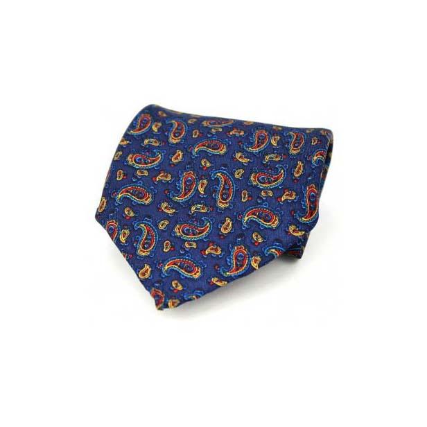 Navy Paisley Silk Twill Pocket Square