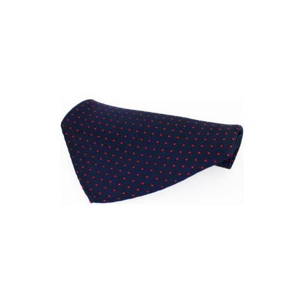 Navy With Red Pin Dots Silk Pocket Square