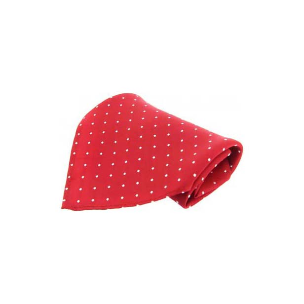 Red With White Pin Dots Silk Pocket Square