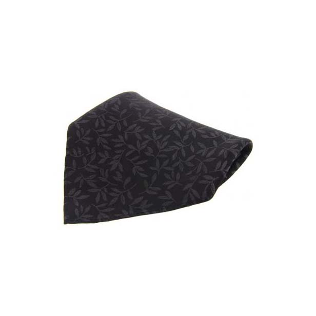 Black Leaf Patterned Silk Pocket Square