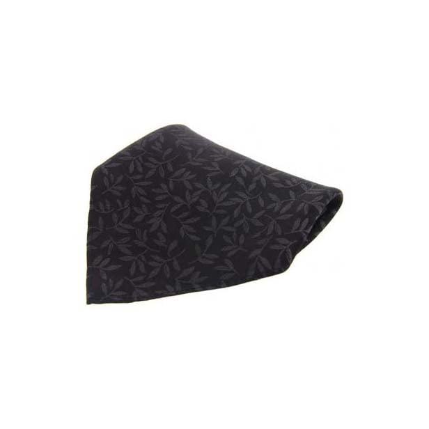 Black Leaf Patterned Silk Pocket Square