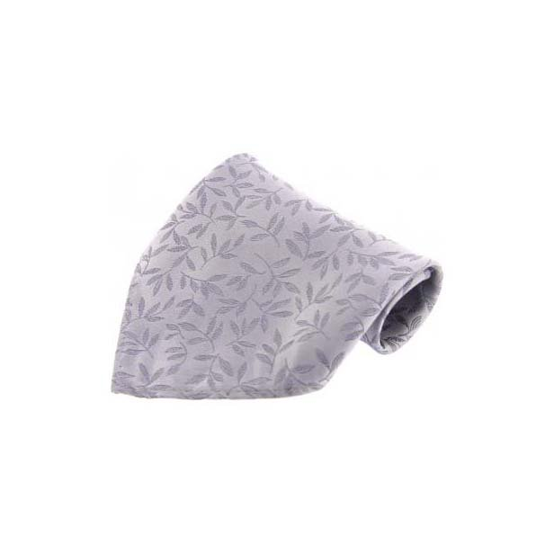 Silver Leaf Patterned Silk Pocket Square