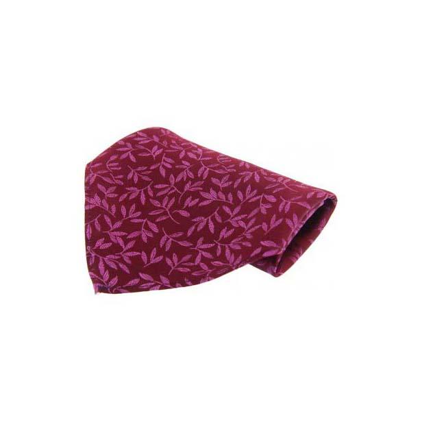 Plumb Leaf Patterned Silk Pocket Square