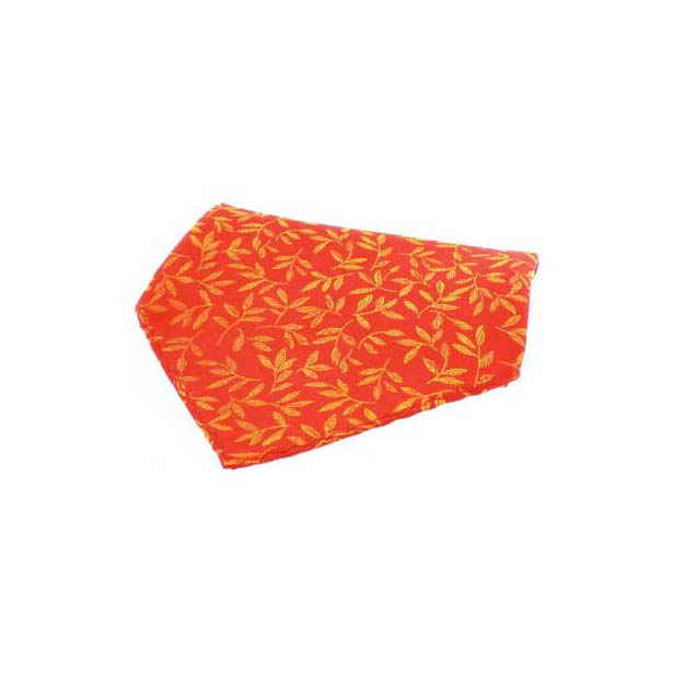 Orange Leaf Patterned Silk Pocket Square