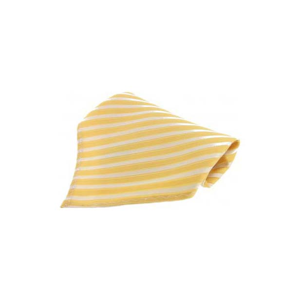 Yellow Striped Silk Pocket Square