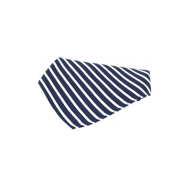 Navy and White Striped Silk Pocket Square
