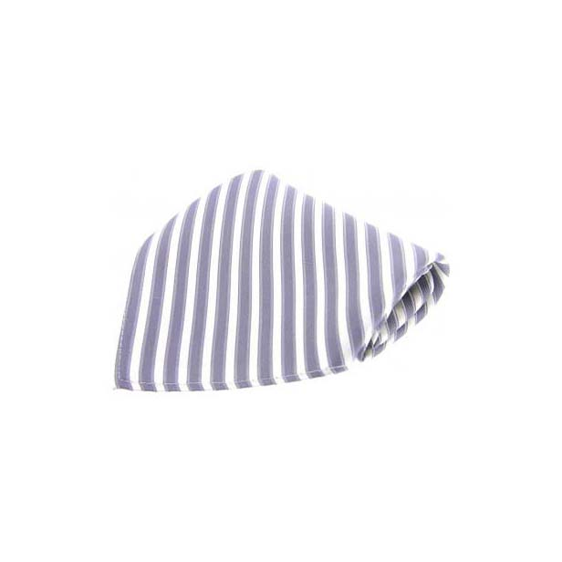 Grey Striped Silk Pocket Square