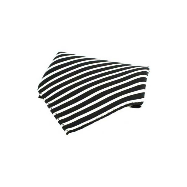 Black and White Striped Silk Pocket Square