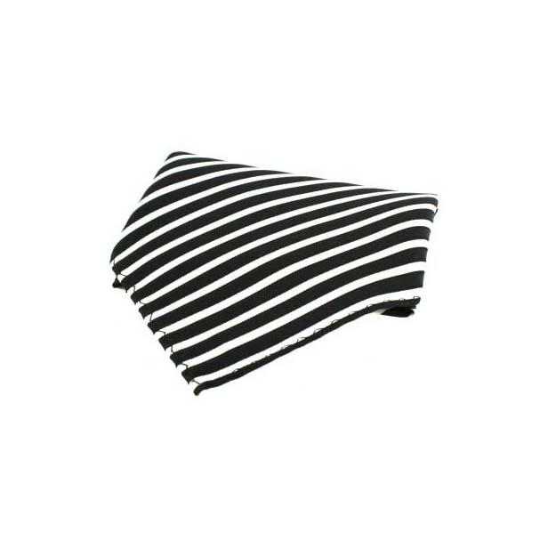 Black and White Striped Silk Pocket Square