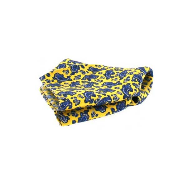 Yellow Small Paisley Pattern Silk Pocket Square