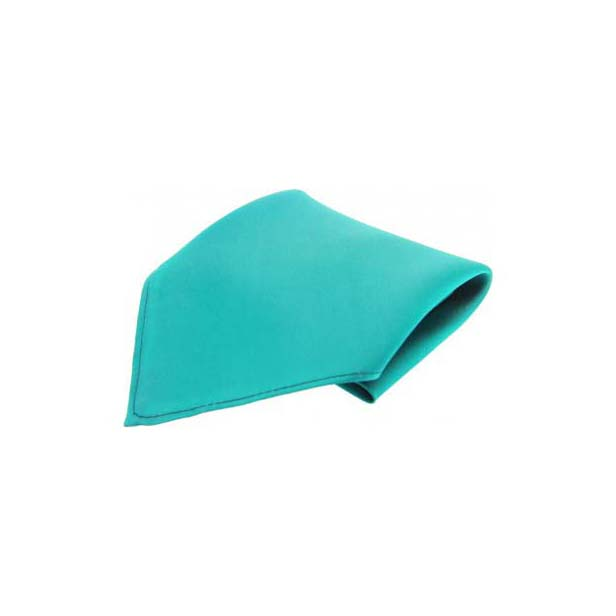 Turquoise Plain Satin Silk Men's Pocket Square