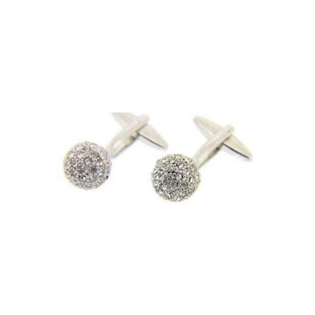 Clear Crystal Ball Cufflinks with Swivel Fitting