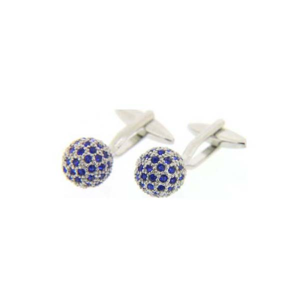 Blue Crystal Ball Cufflinks With Swivel Fitting