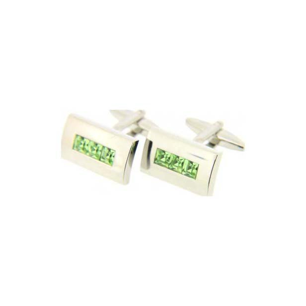 Green Trio Gem Cufflinks With Swivel Fitting