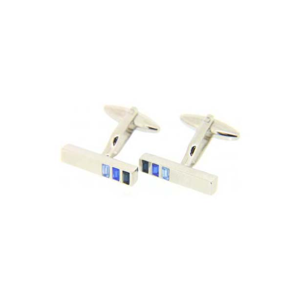 Three-Shades Blue Gem Cufflinks With Swivel Fitting