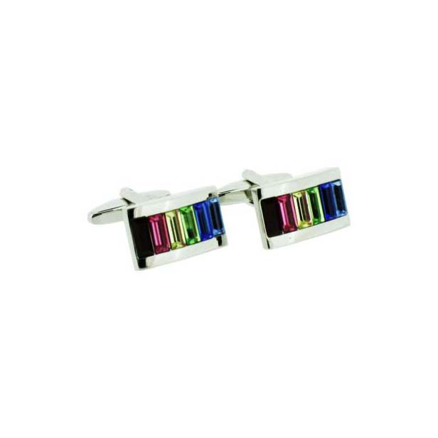 Multi Coloured Baguette Crystal Cluster Cufflinks