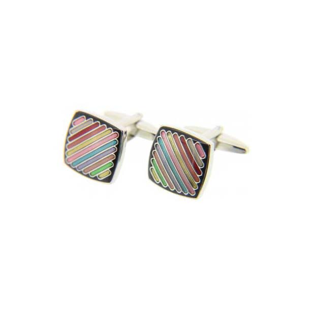 Multi Coloured Rainbow Striped Square Enamel Cufflinks