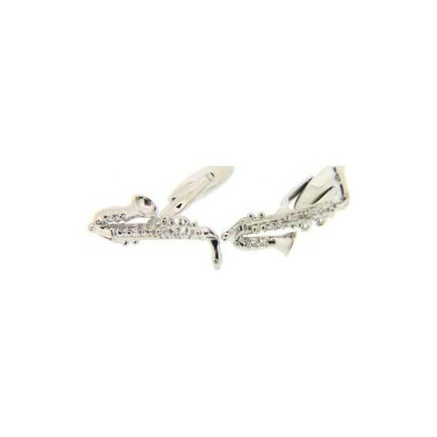 Saxophone Silver Colour Cufflinks.