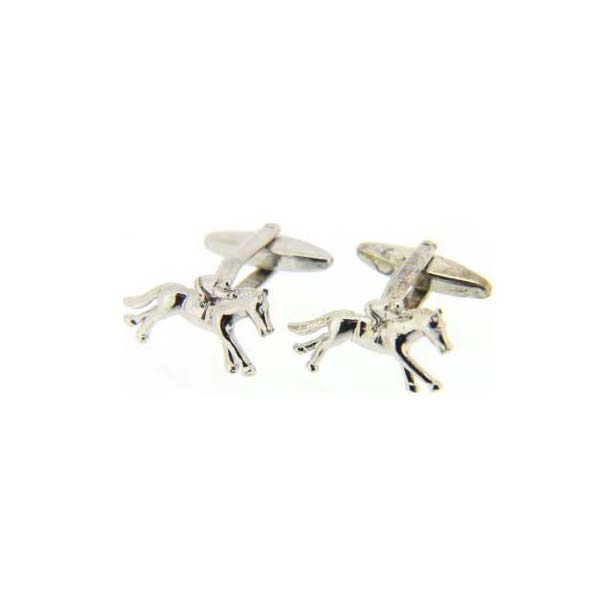 Horse and Jockey Silver Colour Cufflinks