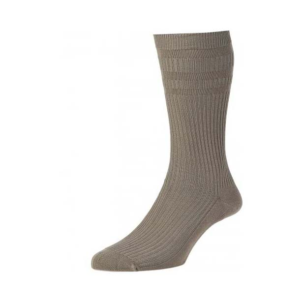 Taupe Softop Ventilated Cotton Rich Socks