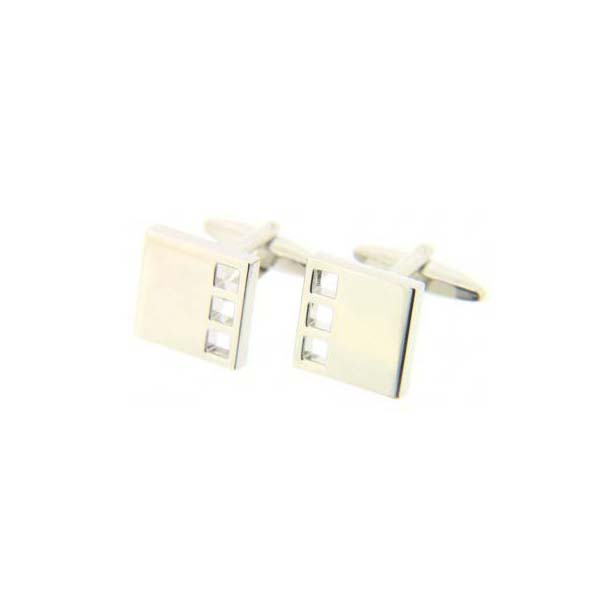 Square Silver Coloured Cufflinks with Swivel Fitting
