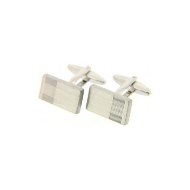 Rectangular Etched Silver Coloured Cufflinks with Swivel Fitting