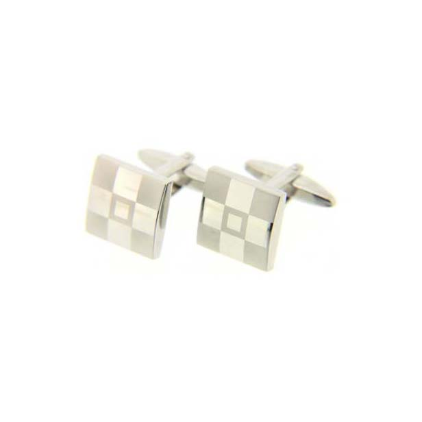 Frosted Square Silver Coloured Cufflinks with Swivel Fitting