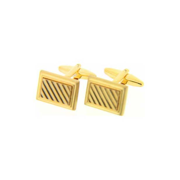 Rectangular Grill Gold Cufflinks with Swivel Fitting