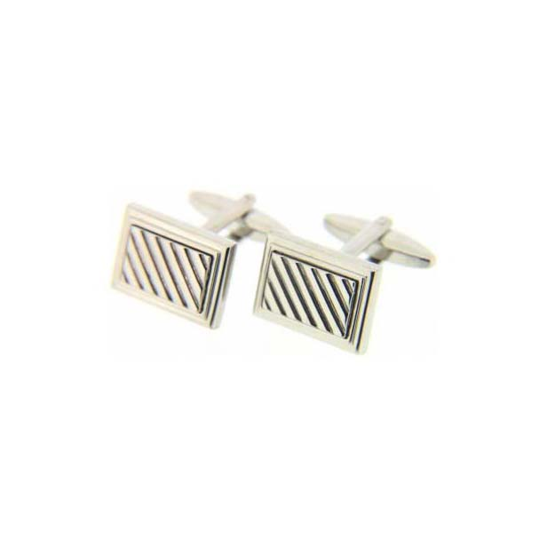 Rectangular Grill Silver Cufflinks with Swivel Fitting