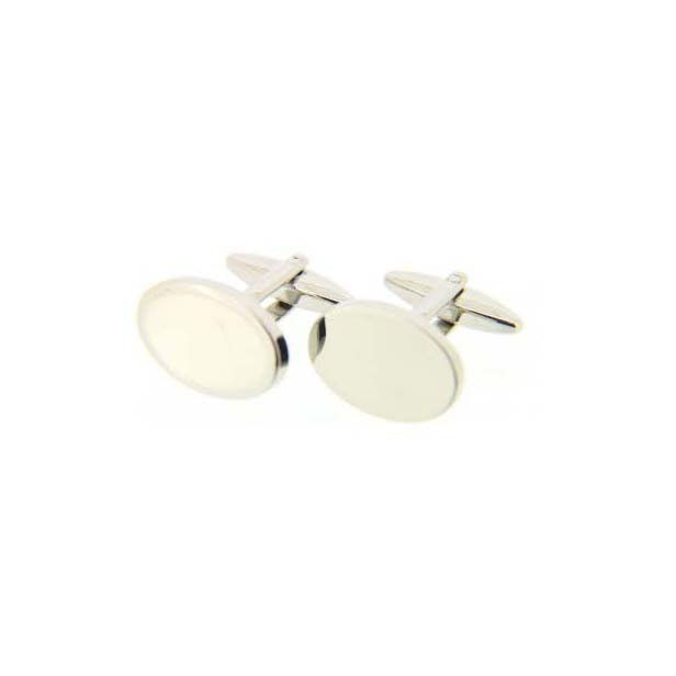 Oval Silver Coloured Cufflinks with Swivel Fitting