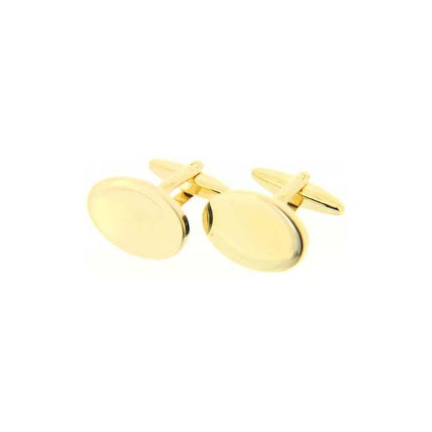 Oval Gold Coloured Cufflinks with Swivel Fitting