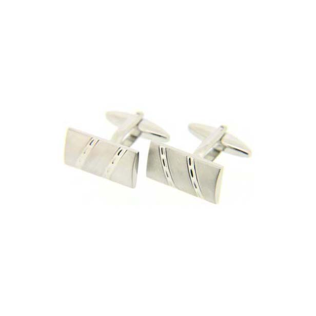 Rectangular Engraved Silver Coloured Cufflinks with Swivel Fitting