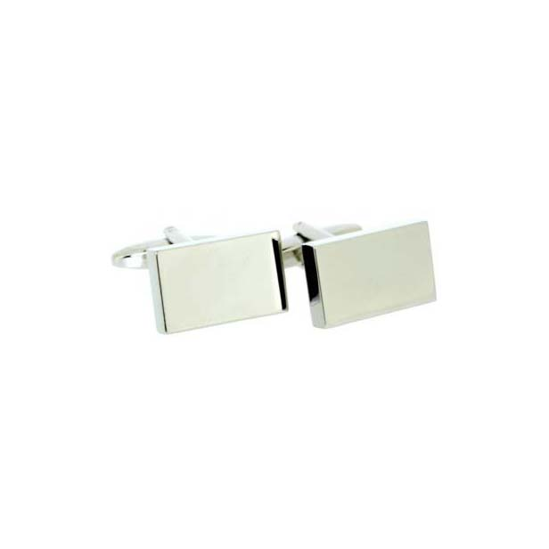 Rectangular Silver Coloured Cufflinks with Swivel Fitting