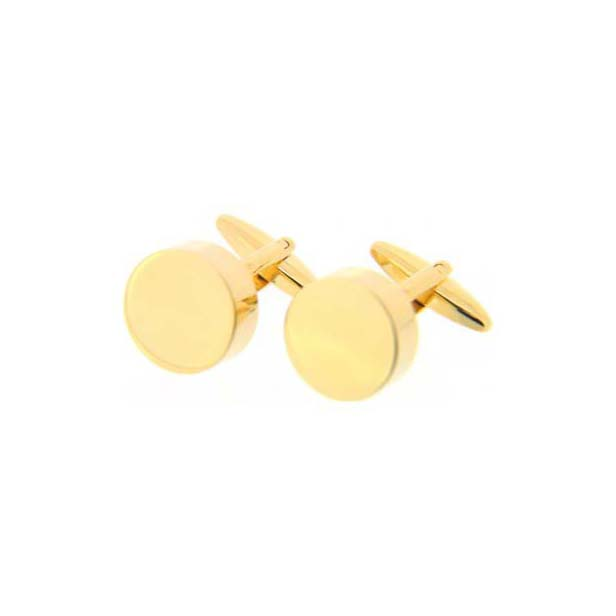 Round Gold Coloured Cufflinks with Swivel Fitting