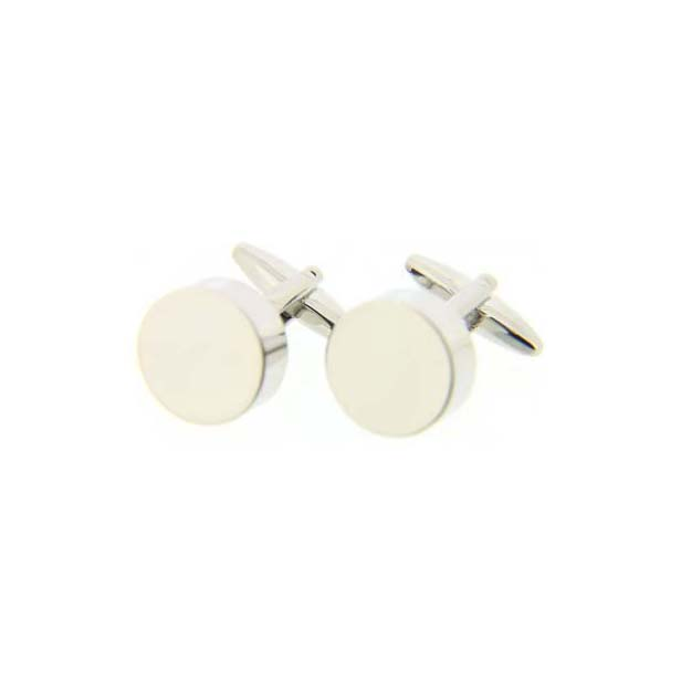 Round Silver Coloured Cufflinks with Swivel Fitting