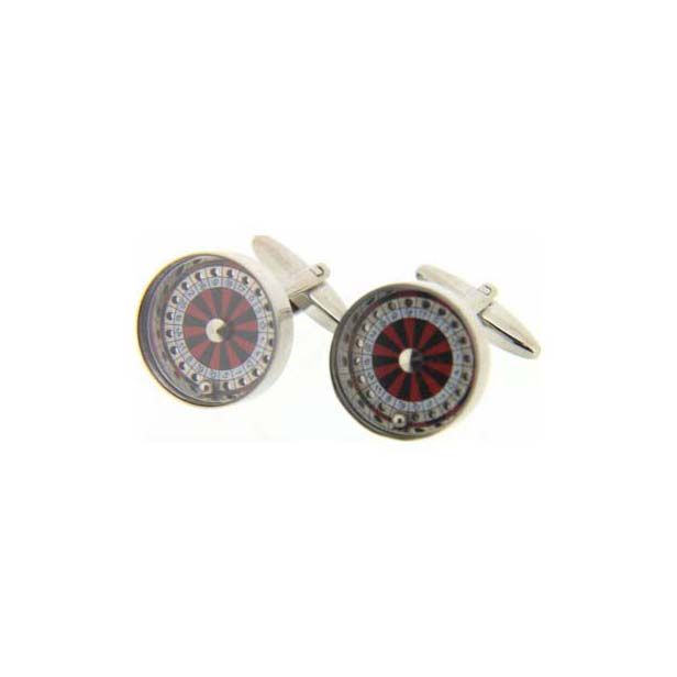 Roulette Wheel in Red, Black and Gold With Moving Parts Cufflinks