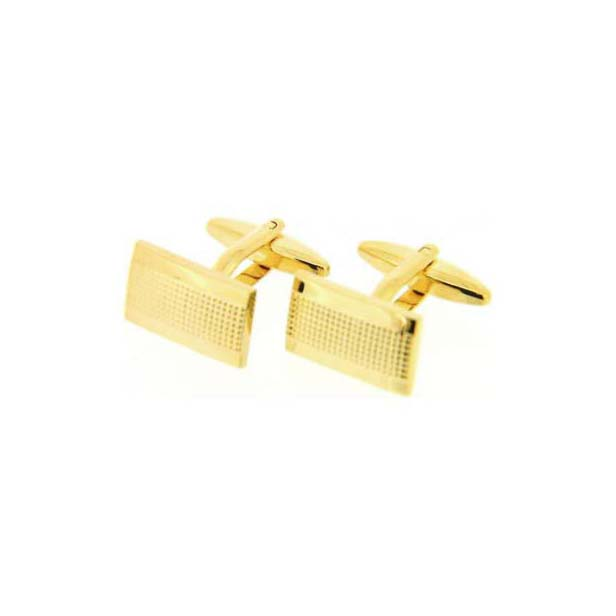 Rectangular Grill Gold Coloured Cufflinks with Swivel Fitting