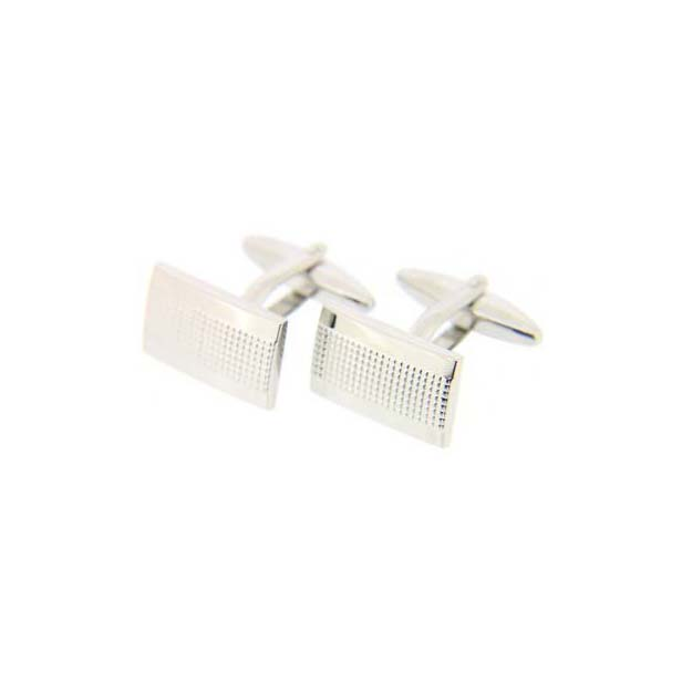 Rectangular Grill Silver Coloured Cufflinks with Swivel Fitting