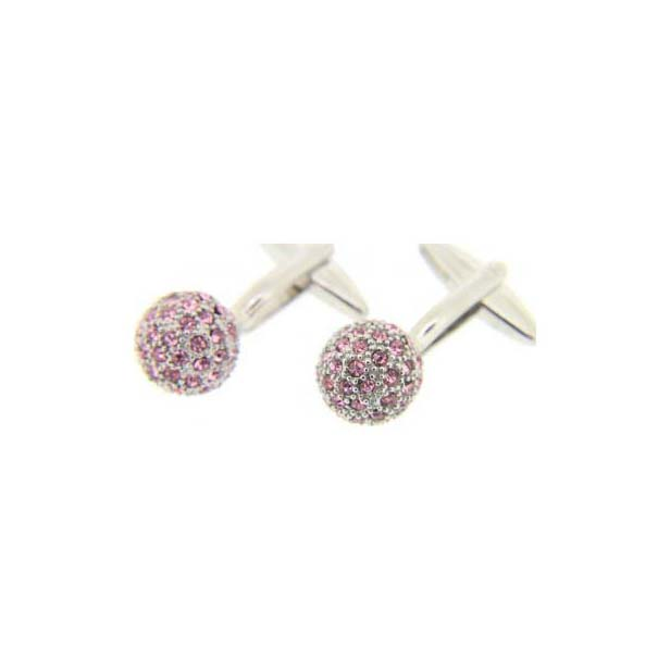 Pink Crystal Ball Cufflinks With Swivel Fitting