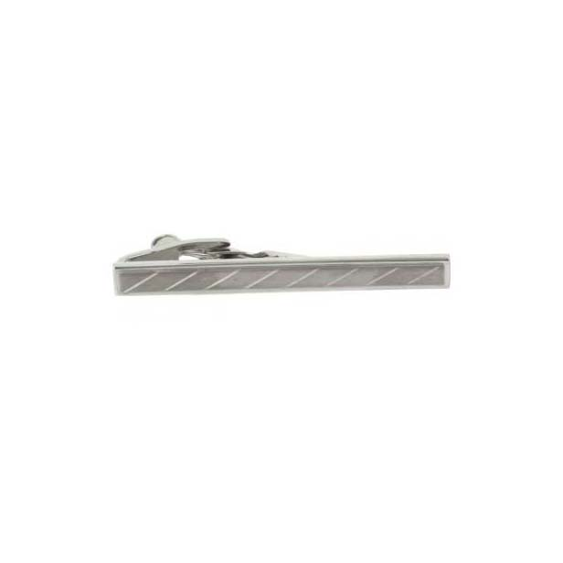 Brushed Silver Coloured Engraved Tie Bar
