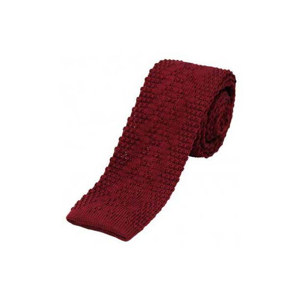 Wine Thin Knitted Polyester Tie