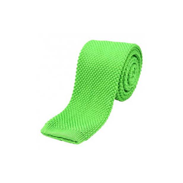 Lime Green Thin Knitted Polyester Tie