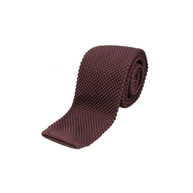 Soft Brown Thin Knitted Polyester Tie