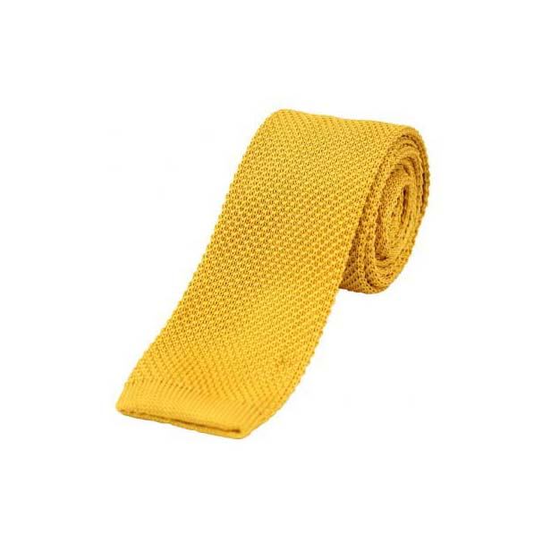 Gold Thin Knitted Polyester Tie