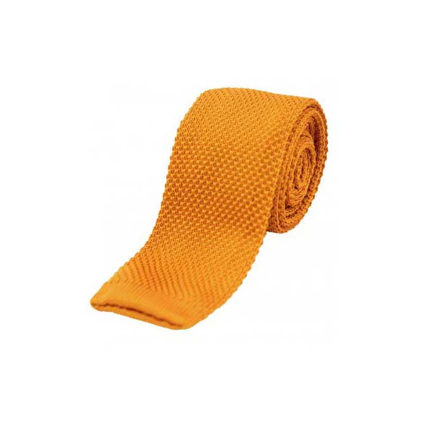 Orange Thin Knitted Polyester Tie