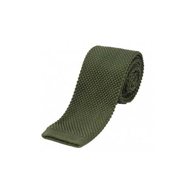 Country Green Thin Knitted Polyester Tie