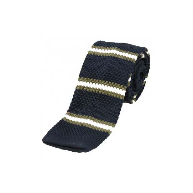 Navy, White and Green Striped Thin Knitted Polyester Tie